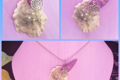 Seashell 10 Naturally emerged snail shell and oyster with metal heart